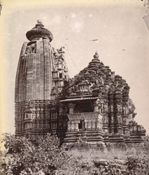 General view from the south-east of the Vamana Temple, Khajuraho